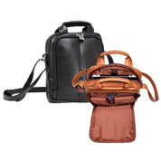 black and tan Napa cowhide tablet and e-reader day bags