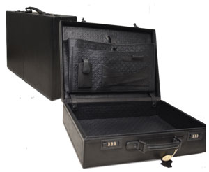 black leather briefcase with embossed leather interior