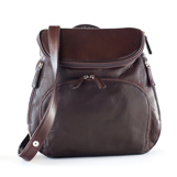 brandy-colored leather backpack