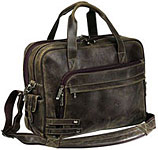 Distressed Leather Attache Briefcase