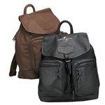 brown and black pigskin backpacks